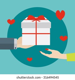 Giving a gift to a woman vector illustration
