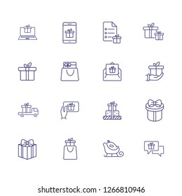 Giving gifts line icon set. Present box, vehicle, shopping bag, hand, gadget. Celebration concept. Can be used for topics like delivery, shipping, online store
