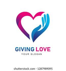 Giving Love Logo, Giving Heart, Heart and Hand logo, Health Care logo, People Care Logo Design