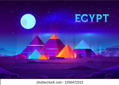 Giza plateau nigh landscape with egyptian pharaohs pyramids complex illuminated with moonlight neon colors cartoon vector background. Ancient historical, famous touristic attractions in african desert