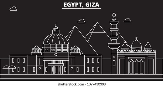 Giza silhouette skyline. Egypt - Giza vector city, egyptian linear architecture, buildings. Giza line travel illustration, landmarks. Egypt flat icon, egyptian outline design banner