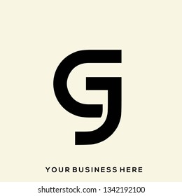 GJ geometric monogram.Stylized lettering logo in abstract, modern, architectural, corporate style.Typographic icon with letter g and letter j isolated on light background.Uppercase initials sign.