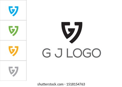 GJ geometric monogram.Stylized lettering logo in abstract, modern, architectural, corporate style.Typographic icon with letter g and letter j isolated on light background.Uppercase initials sign
