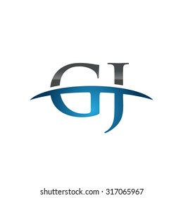 GJ initial company blue swoosh logo