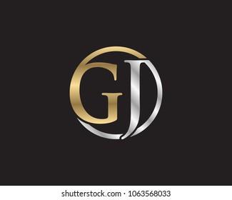 GJ initial letters looping linked circle elegant logo golden silver black background