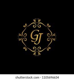 GJ Initial logo. Ornament ampersand monogram golden logo black background