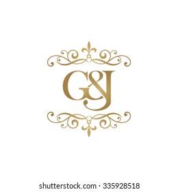 G&J Initial logo. Ornament ampersand monogram golden logo