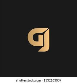 Gj or JG logo vector. Initial letter logo, golden text on black background