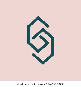 GJ monogram logo.Typographic icon with letter g and letter j.Lettering icon.Alphabet initials isolated on light pink background.Modern,abstract,geometric style sign characters for company branding.
