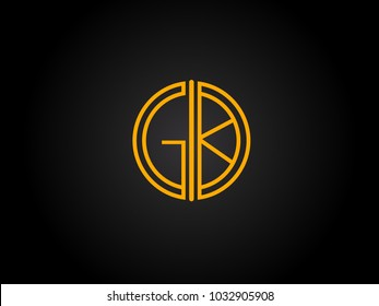 GK Circle Shape golden yellow Letter logo Design