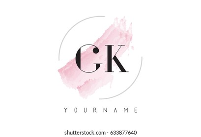 GK G K Watercolor Letter Logo Design with Circular Shape and Pastel Pink Brush.