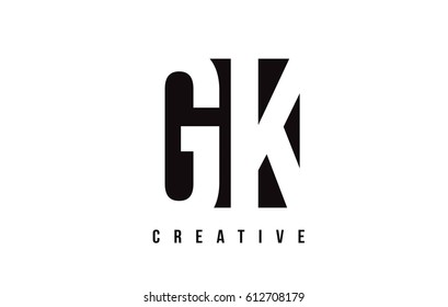 GK G K White Letter Logo Design with Black Square Vector Illustration Template.