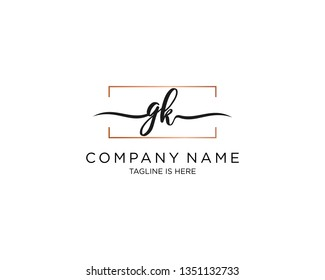 GK handwriting initial  logo vector