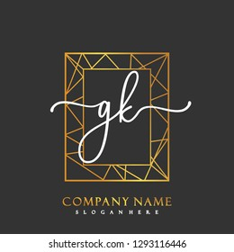 GK Initial Handwriting logo template vector