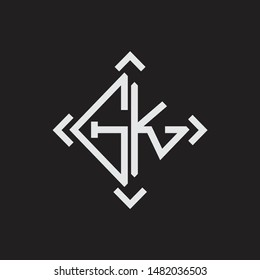 GK Logo Abstrac letter Monogram with Arrow in every side isolated on black background