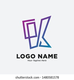 GK logo design with abstract simple style