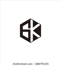 GK Logo Initial Monogram Negative Space Designs Modern Templete with Black color and White Background