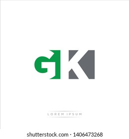 GK Logo Letter with Modern Negative space - Green and Grey Color EPS 10