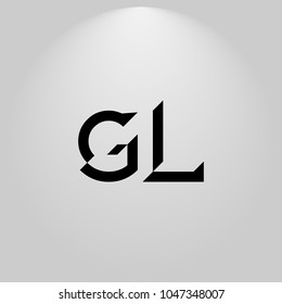 GL Abstract Black Letters with white and gray background in highlight
