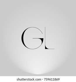 GL Black thin minimalist LOGO Design with Highlight on Gray background.