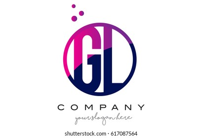 GL G L Circle Letter Logo Design with Purple Magenta Dots Bubbles Vector Illustration