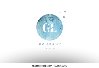 gl g l  watercolor grunge vintage alphabet company letter combination logo circle design vector icon template
