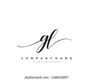 GL handwriting initial  logo vector