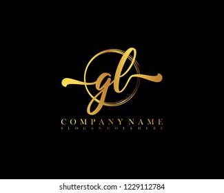 GL initial handwriting logo circle template vector