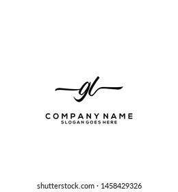 GL Initial handwriting logo template vector