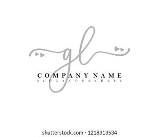 GL Initial handwriting logo vector