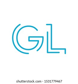 GL initial letter logo gl, lg, Blue graphic element for typography style, minimalistic letter design. Editable stroke. Stock vector illustration isolated on white background.