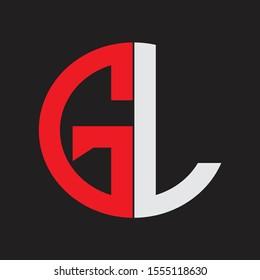 GL Initial Logo design Monogram Isolated on black background