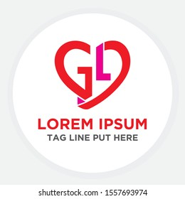 GL Initial love icon. initial logo letter GL with heart shape red colored