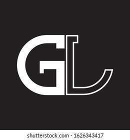GL Letter logo monogram with oval shape negative space design template