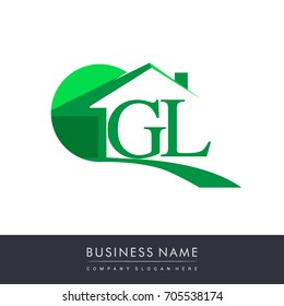 GL letter roof shape logo green, initial logo AB with house icon, business logo and property developer.
