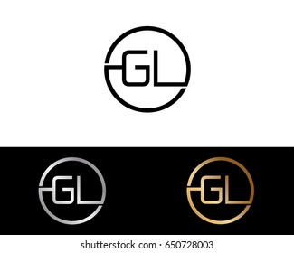 Gl Logo. Letter Design Vector with Red and Black Gold Silver Colors