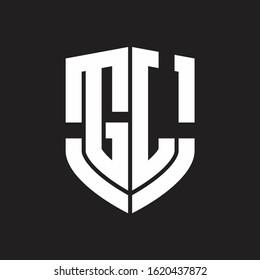 GL Logo monogram with emblem shield shape design isolated on black background