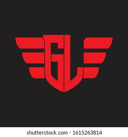 GL Logo monogram with emblem and wings element design template on red colors
