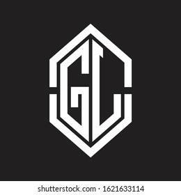 GL Logo monogram with hexagon shape and outline slice style with black and white