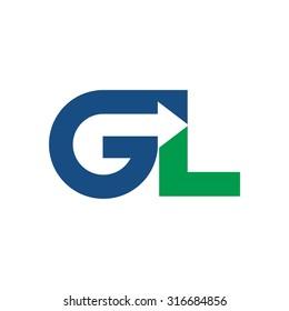 GL logo vector. arrow logo.