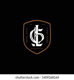 GL monogram Barbershop logo victorian