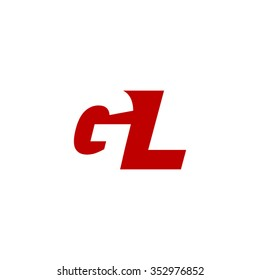 GL negative space letter logo red
