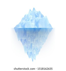 Glacier Ice Rock Floating On Water Waves Vector. Icy Glacier Arctic Mountain With Underwater Part And Icecap. Marine Ice Chunk Hiding Threat, Dangerous And Ecosystem Realistic 3d Illustration