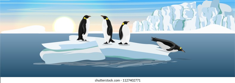 The glacier and the ice-break from it, floating in the dark cold sea. Penguins on the ice floe. Vector landscape of the Arctic, Antarctic or Greenland. Northern landscapes.
