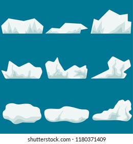 A glacier, a piece of ice. Iceberg. Realistic big chunks of ice. Flat design, vector illustration, vector.
