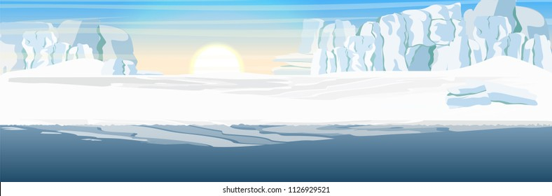 The glacier and the snow-covered plains and the dark cold sea. Vector landscape of the Arctic, Antarctic or Greenland. Northern landscapes.