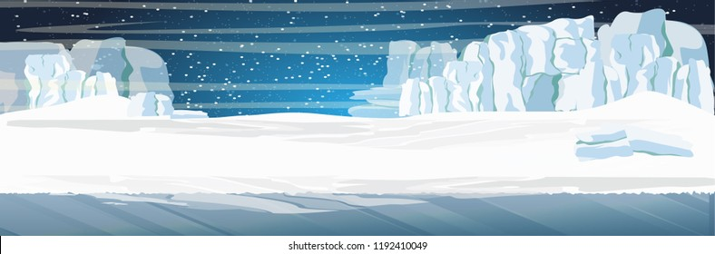 The glacier and the snow-covered plains and the dark cold sea. Starry night in the North. Vector landscape of the Arctic, Antarctica, Greenland, Alaska or Canada. Northern landscapes.