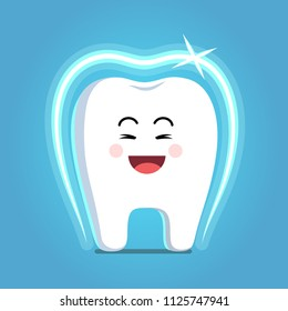 Glad strong shielded cheerful cartoon tooth character with shining protective coat shield. Healthy smiling tooth. Children dentistry and teeth whitening concept. Flat vector clipart illustration