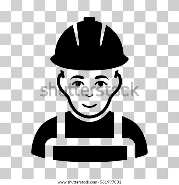 Glad Worker vector pictogram. Illustration style is flat iconic black symbol on a transparent background.