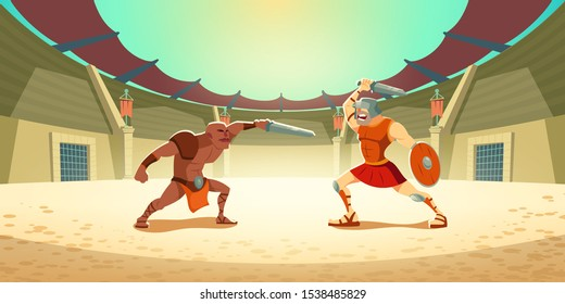 Gladiator fighting with barbarian on coliseum arena, ancient roman armored spartan warrior and dark-skinned moor fight on swords, greek soldier with shield battle show. Cartoon vector illustration
